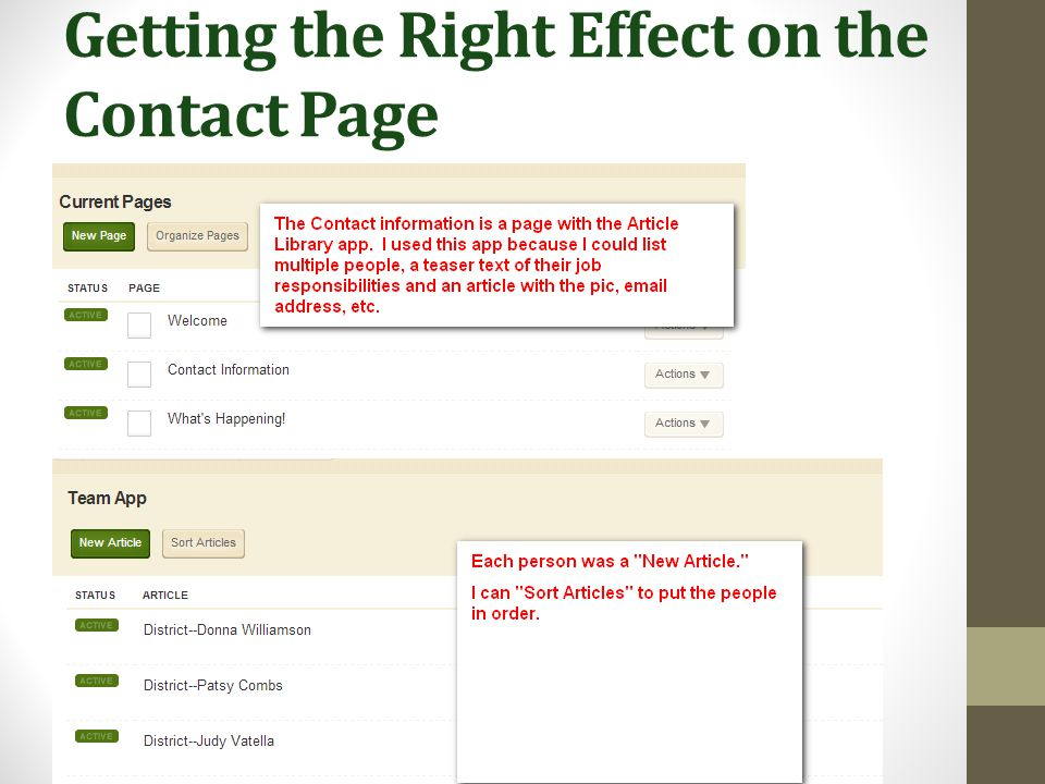 Getting the Right Effect on the Contact Page