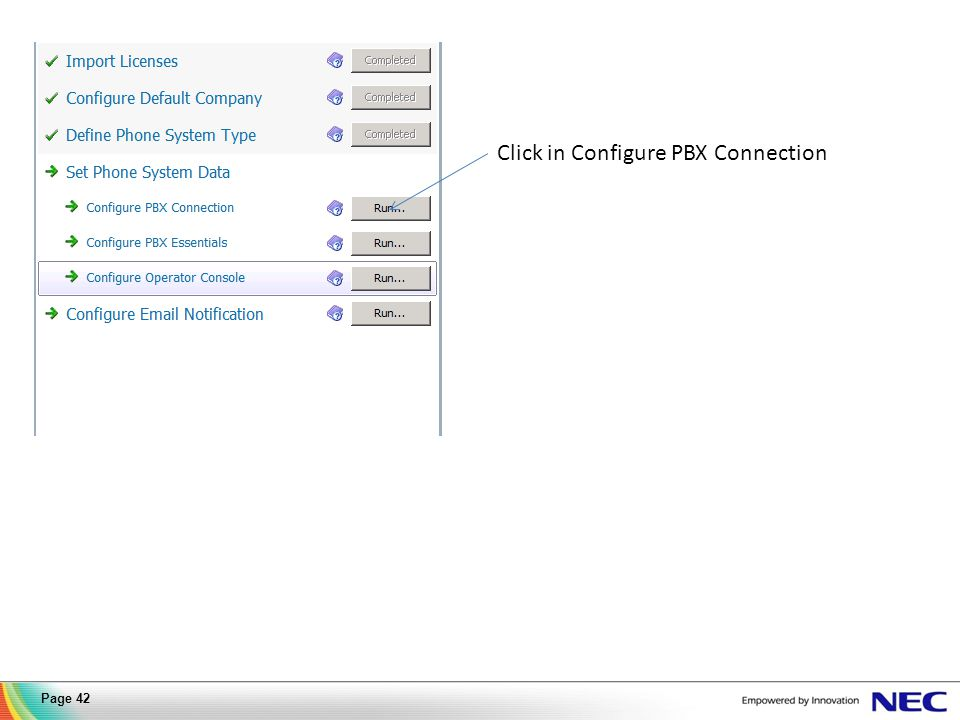 Click in Configure PBX Connection Page 42