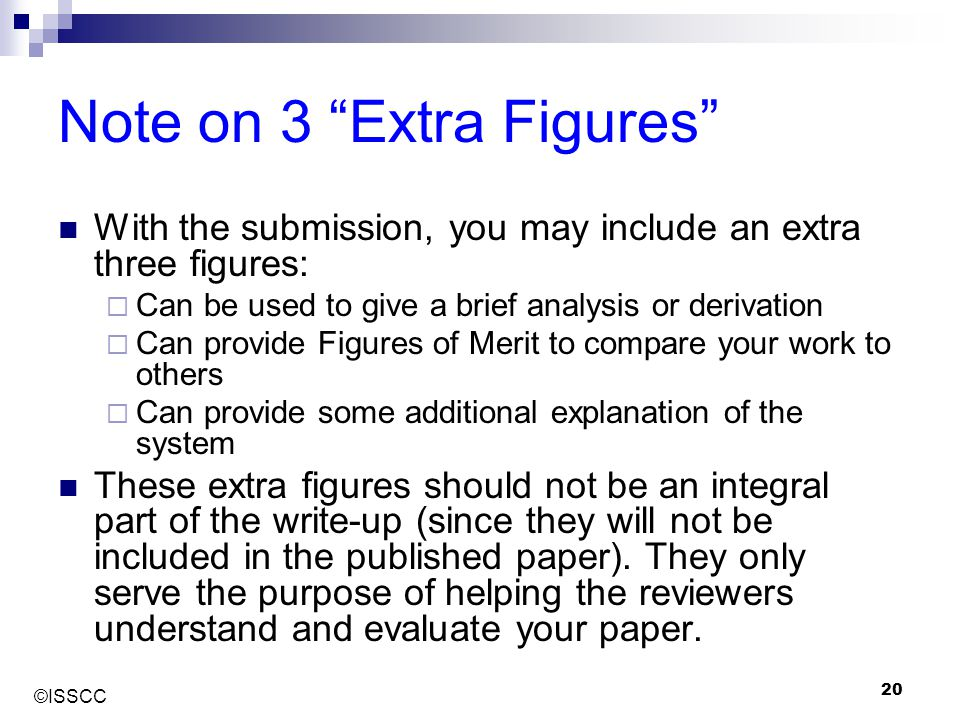 """©ISSCC 20 Note on 3 """"Extra Figures"""" With the submission, you may include an extra three figures:  Can be used to give a brief analysis or derivation"""