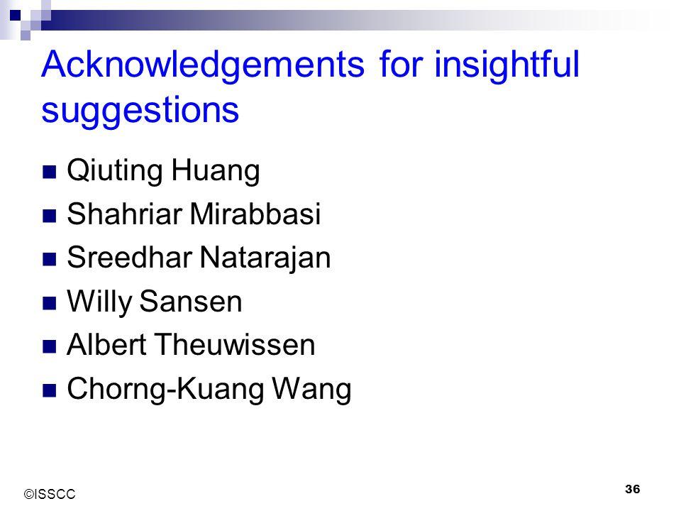 ©ISSCC 36 Acknowledgements for insightful suggestions Qiuting Huang Shahriar Mirabbasi Sreedhar Natarajan Willy Sansen Albert Theuwissen Chorng-Kuang