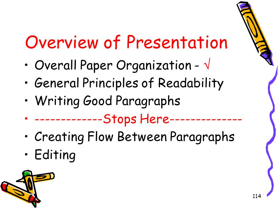 114 Overview of Presentation Overall Paper Organization -  General Principles of Readability Writing Good Paragraphs -------------Stops Here---------
