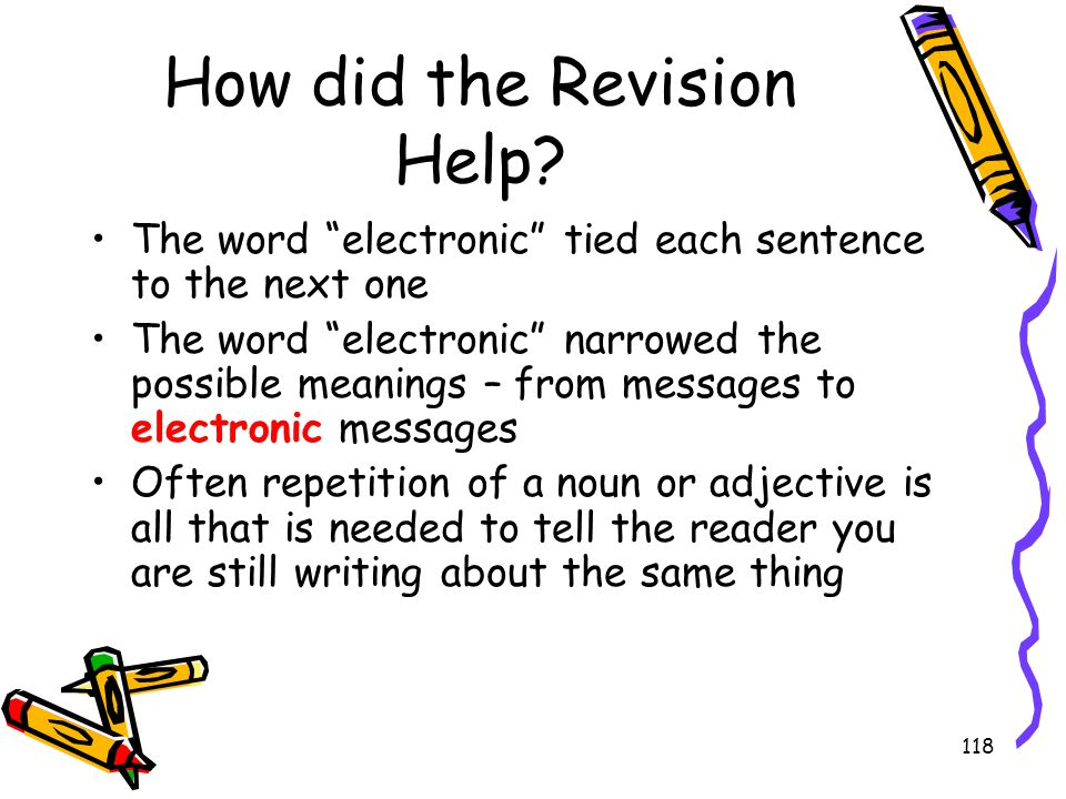 "118 How did the Revision Help? The word ""electronic"" tied each sentence to the next one The word ""electronic"" narrowed the possible meanings – from me"