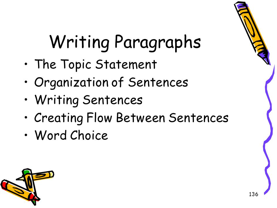 136 Writing Paragraphs The Topic Statement Organization of Sentences Writing Sentences Creating Flow Between Sentences Word Choice