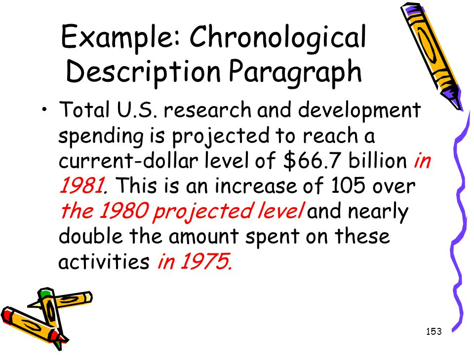 153 Example: Chronological Description Paragraph Total U.S. research and development spending is projected to reach a current-dollar level of $66.7 bi