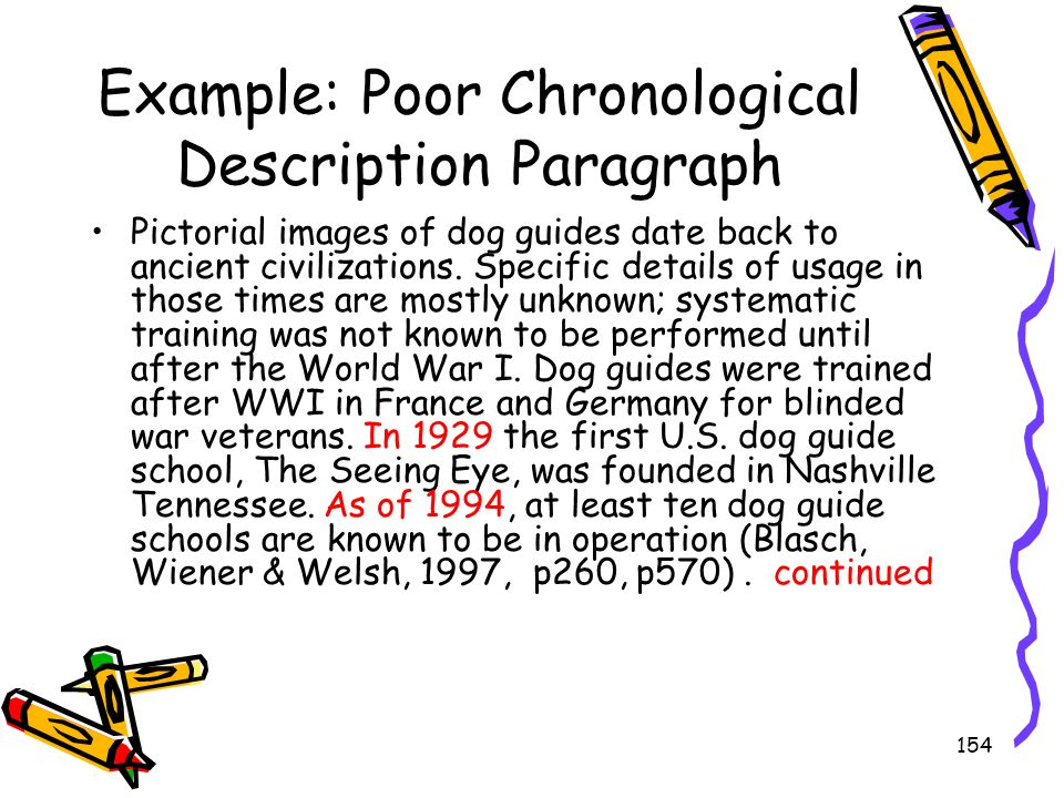 154 Example: Poor Chronological Description Paragraph Pictorial images of dog guides date back to ancient civilizations. Specific details of usage in