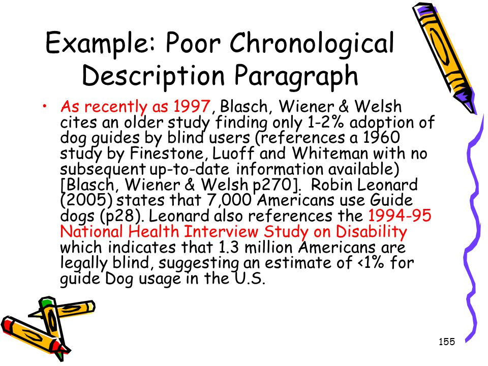 155 Example: Poor Chronological Description Paragraph As recently as 1997, Blasch, Wiener & Welsh cites an older study finding only 1-2% adoption of d