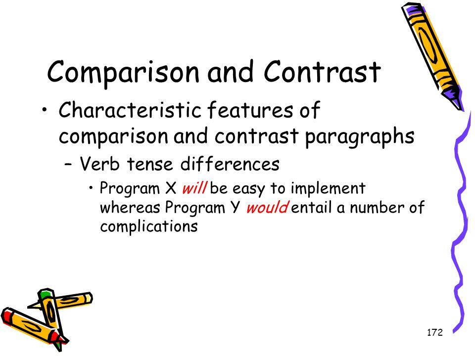 172 Comparison and Contrast Characteristic features of comparison and contrast paragraphs –Verb tense differences Program X will be easy to implement