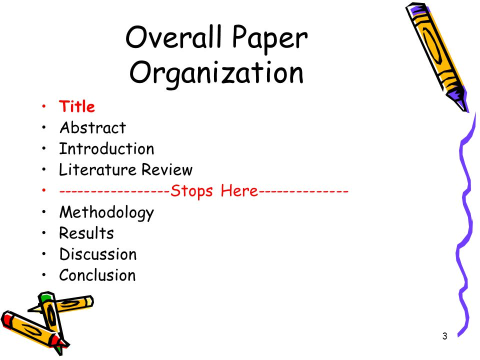 3 Overall Paper Organization Title Abstract Introduction Literature Review -----------------Stops Here-------------- Methodology Results Discussion Co
