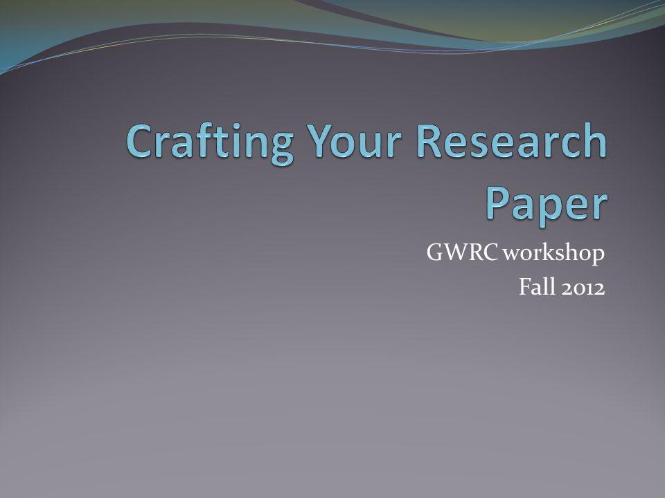 GWRC workshop Fall 2012