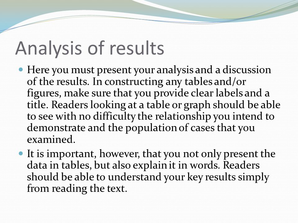 Analysis of results Here you must present your analysis and a discussion of the results. In constructing any tables and/or figures, make sure that you