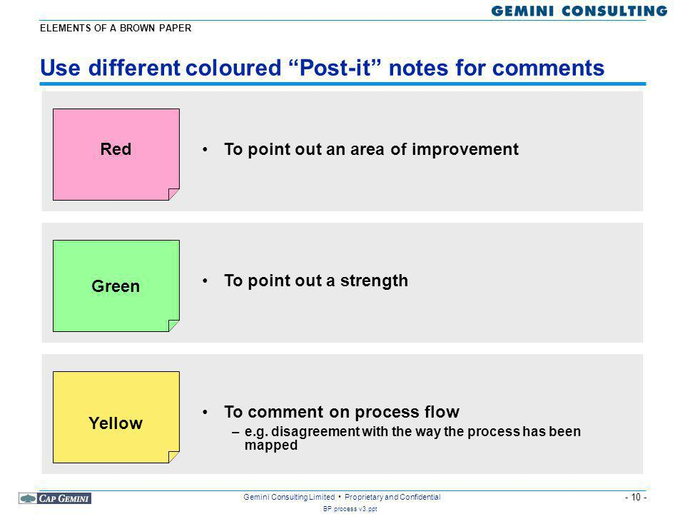 - 10 - BP process v3.ppt Gemini Consulting Limited Proprietary and Confidential Use different coloured Post-it notes for comments Red Green Yellow To point out an area of improvement To point out a strength To comment on process flow –e.g.