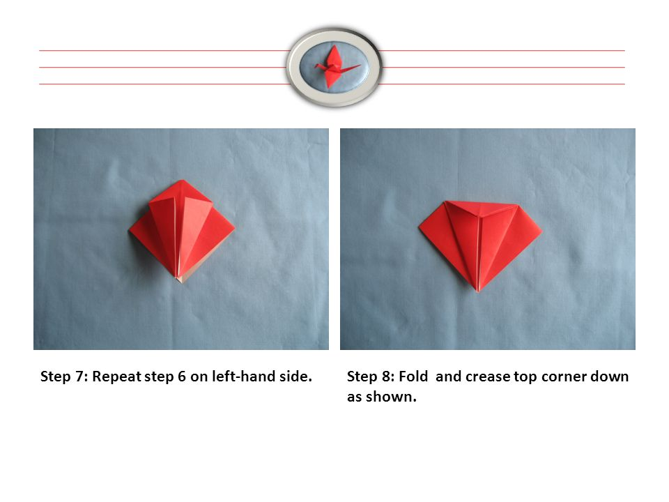 Step 7: Repeat step 6 on left-hand side.Step 8: Fold and crease top corner down as shown.