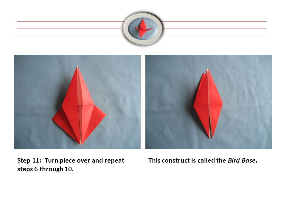 Step 11: Turn piece over and repeat steps 6 through 10. This construct is called the Bird Base.