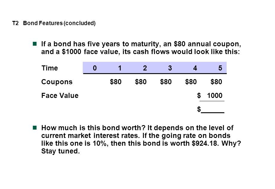 If a bond has five years to maturity, an $80 annual coupon, and a $1000 face value, its cash flows would look like this: Time012345 Coupons$80$80$80$8