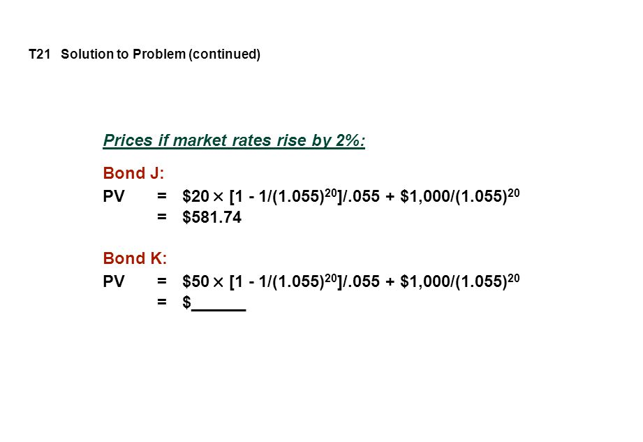 T21 Solution to Problem (continued) Prices if market rates rise by 2%: Bond J: PV = $20 [1 - 1/(1.055) 20 ]/.055 + $1,000/(1.055) 20 = $581.74 Bond K: PV = $50 [1 - 1/(1.055) 20 ]/.055 + $1,000/(1.055) 20 = $______