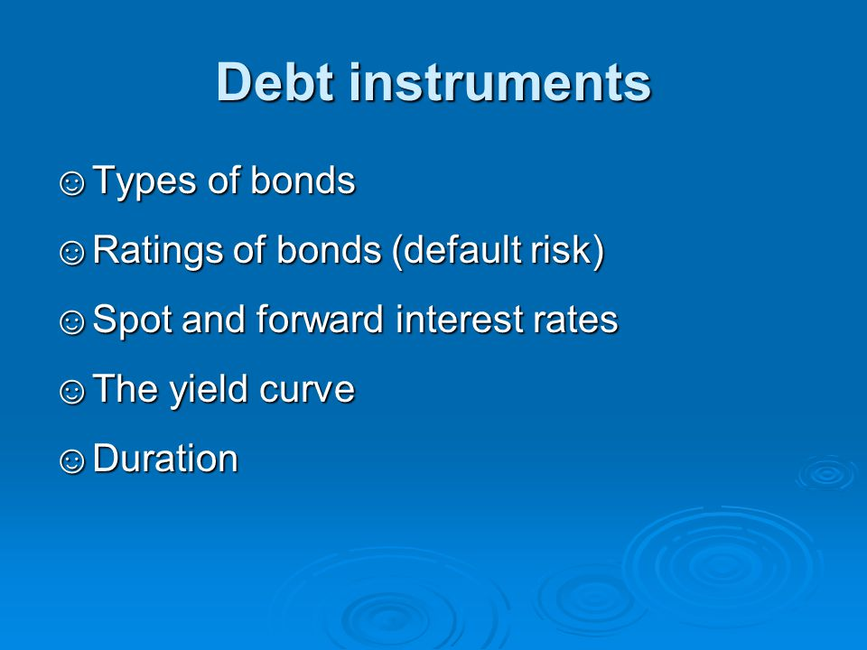 Example The percentage price change for the following bonds as a result of an increase in the interest rate (from 5% to 5.01%): 1.∆P/P = -D*·∆y = -(3.7704/1.05)·0.01% = -0.03591% 2.∆P/P = -D*·∆y = -(4/1.05)·0.01% = -0.03810% 3.∆P/P = -D*·∆y = -(3.7704/1.05)·0.01% = -0.03591% Note that: When two bonds have the same duration (not time to maturity) they also have the same price sensitivity to changes in the interest rate: 1 vs.