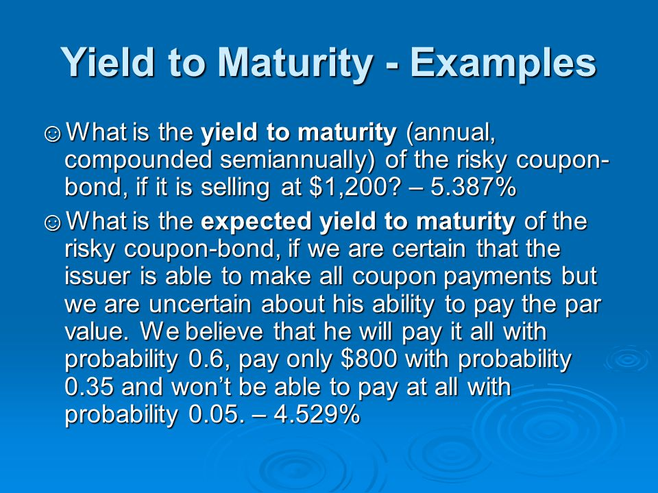 Default Risk and Bond Rating ☺Although bonds generally promise a fixed flow of income, in most cases this cash-flow stream is uncertain since the issuer may default on his obligation.