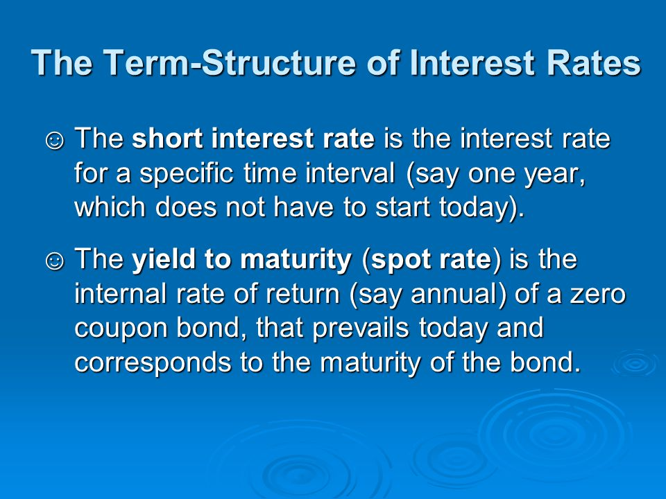 The Forward Interest Rate If there is no opportunity to make arbitrage profits, the 1-year forward interest rate for the second year must be the solution of the following equation: (1+y 2 ) 2 = (1+y 1 )(1+f 2 ), where y T = yield to maturity of a T-year zero-coupon bond f t = 1-year forward rate for year t