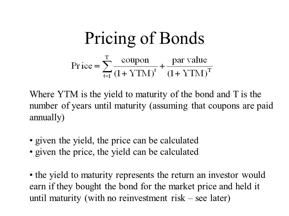 Example – Realized Yield Bond: 15 years to maturity, coupon = 8% (semi-annual), par = $1000, price = $1150 Yield to Maturity = .