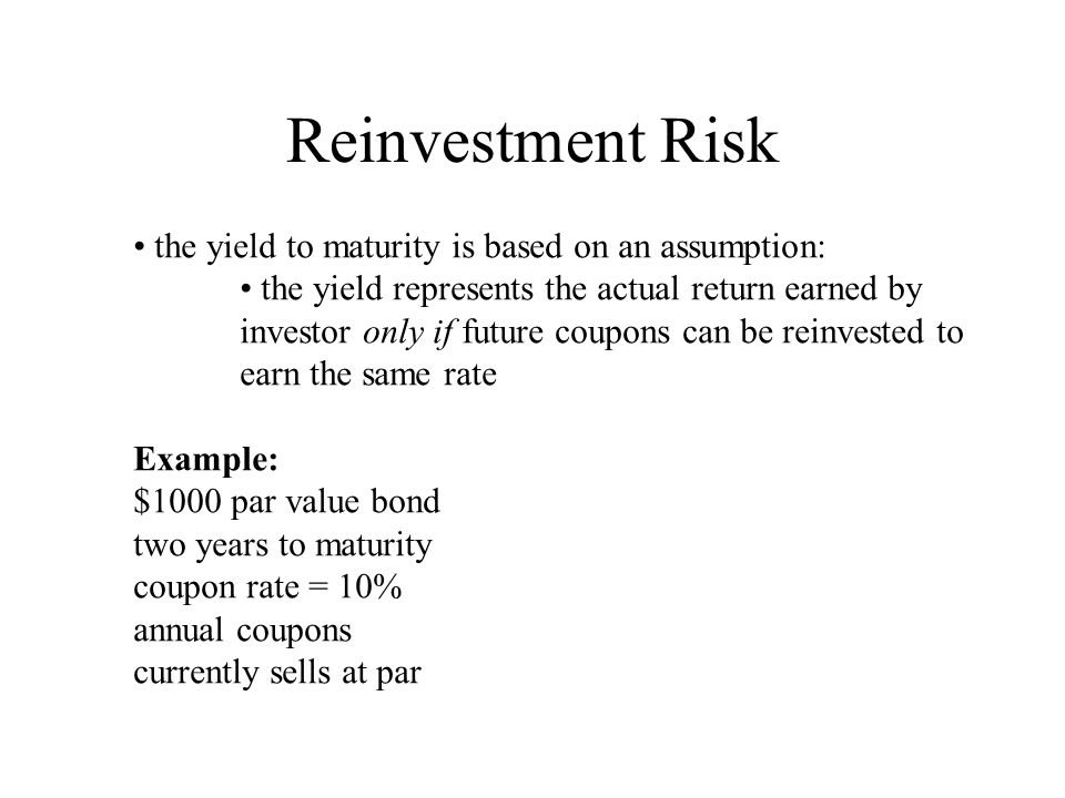Reinvestment Risk (cont.) Price: Take future value of both sides of the equation: Value of first year's coupon at second year Future value of investment at second year if earns 10%