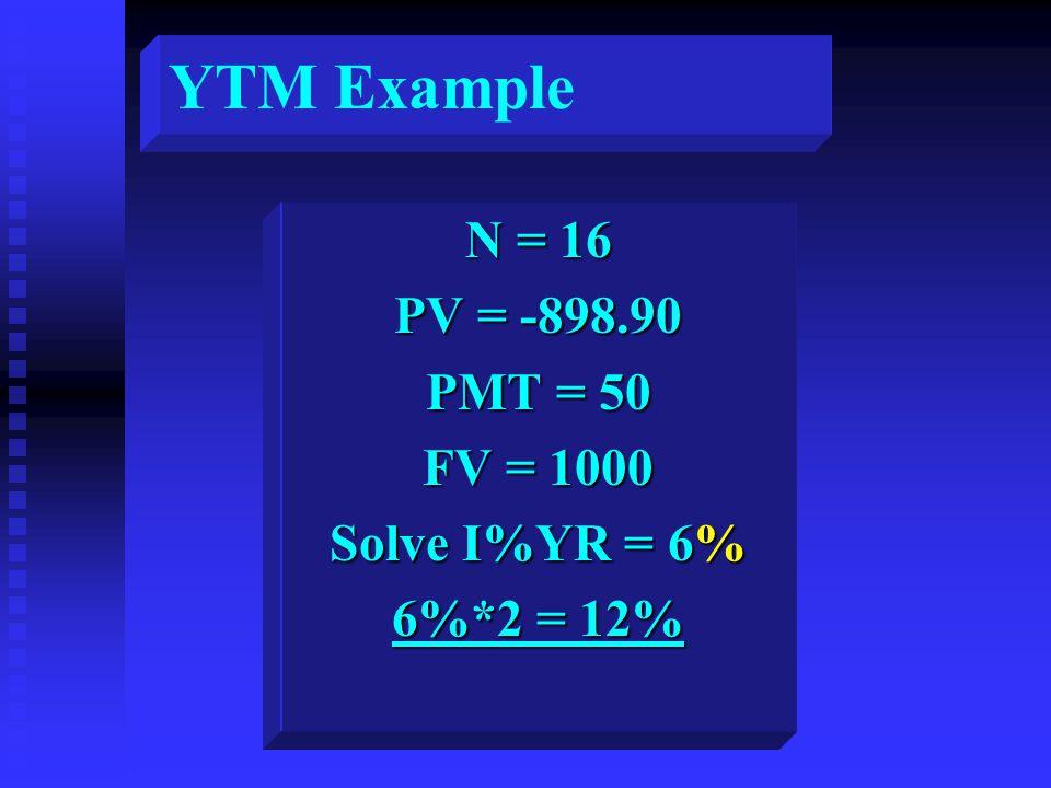 N = 16 PV = -898.90 PMT = 50 FV = 1000 Solve I%YR = 6% 6%*2 = 12% YTM Example