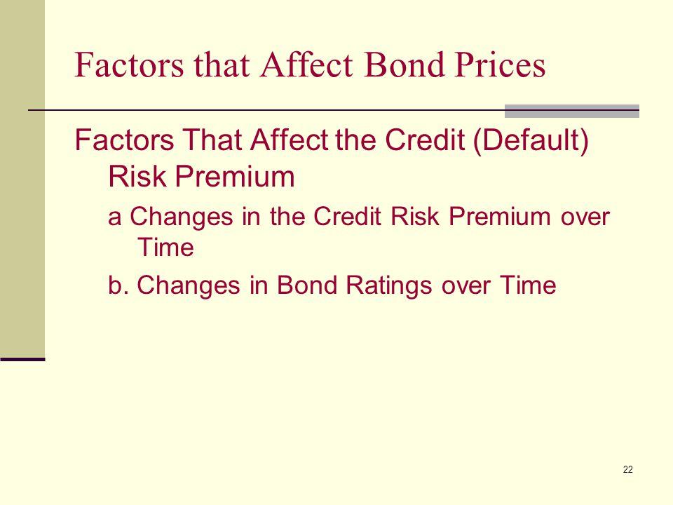 22 Factors that Affect Bond Prices Factors That Affect the Credit (Default) Risk Premium a Changes in the Credit Risk Premium over Time b. Changes in