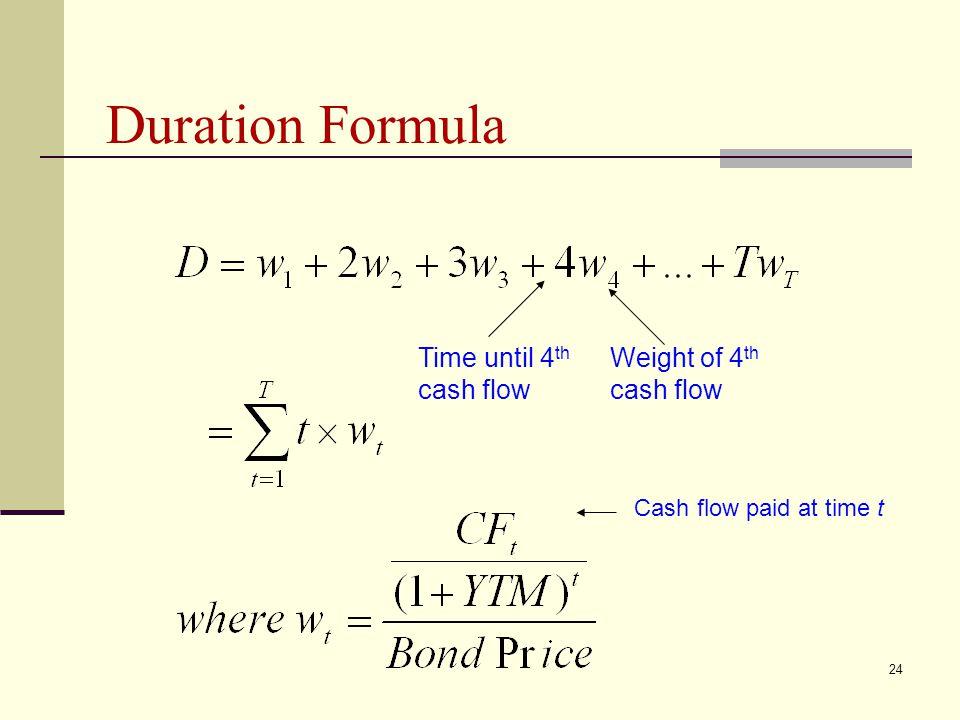 24 Duration Formula Time until 4 th cash flow Weight of 4 th cash flow Cash flow paid at time t
