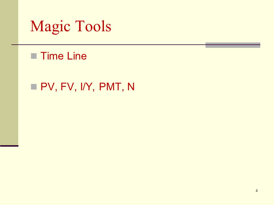 Magic Tools Time Line PV, FV, I/Y, PMT, N 4