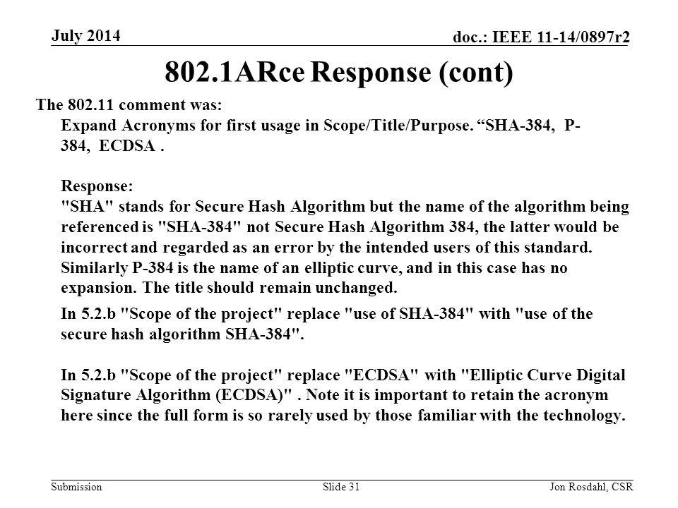 Submission doc.: IEEE 11-14/0897r2 802.15 response to Comment from 802.11 Comment: 1.2.4 b) need a response: b) Proven similar technology via testing, modeling, simulation, etc.