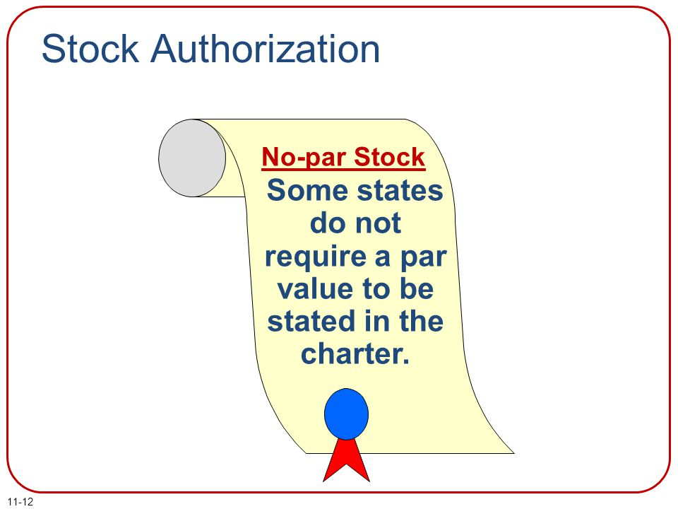 11-12 Some states do not require a par value to be stated in the charter. No-par Stock Stock Authorization