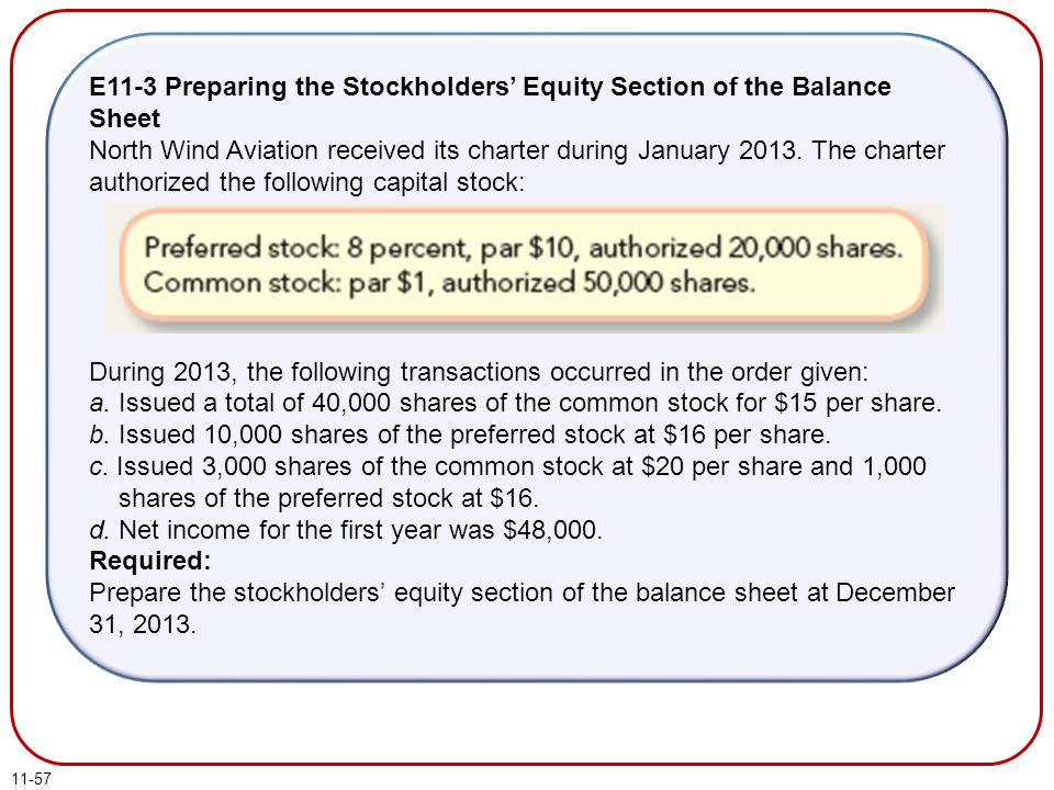 11-57 E11-3 Preparing the Stockholders' Equity Section of the Balance Sheet North Wind Aviation received its charter during January 2013. The charter
