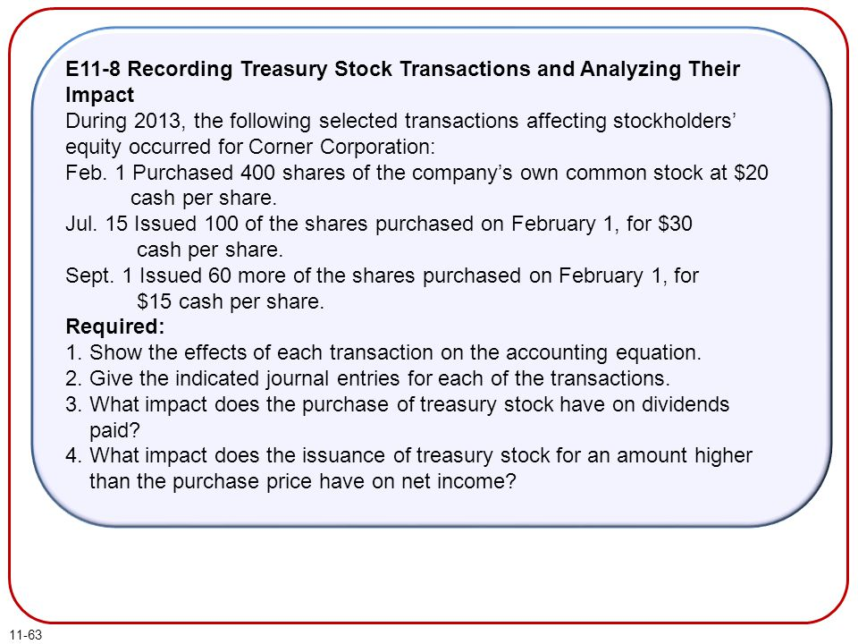 11-63 E11-8 Recording Treasury Stock Transactions and Analyzing Their Impact During 2013, the following selected transactions affecting stockholders'