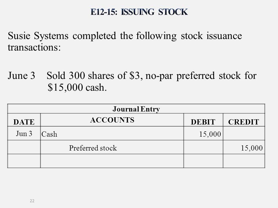 Susie Systems completed the following stock issuance transactions: June 3 Sold 300 shares of $3, no-par preferred stock for $15,000 cash. 22 Journal E