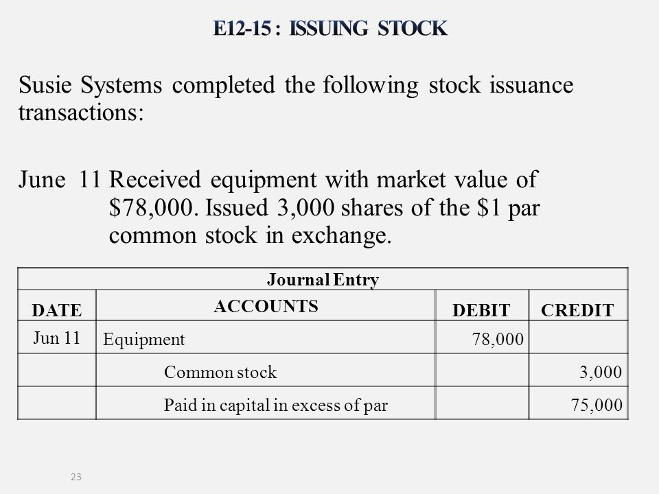 Susie Systems completed the following stock issuance transactions: June 11 Received equipment with market value of $78,000. Issued 3,000 shares of the
