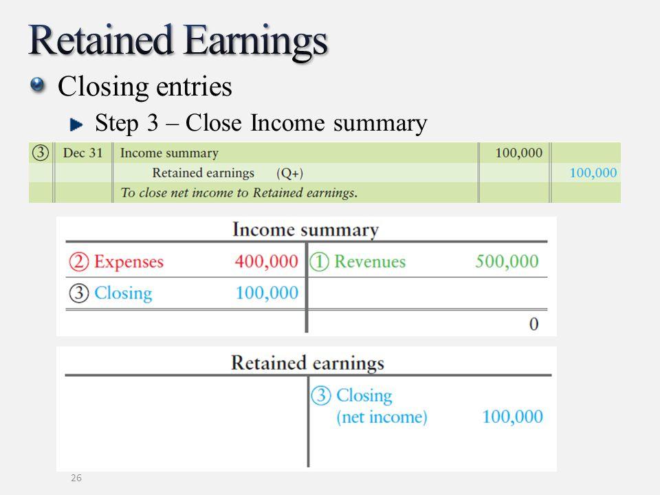 Closing entries Step 3 – Close Income summary 26