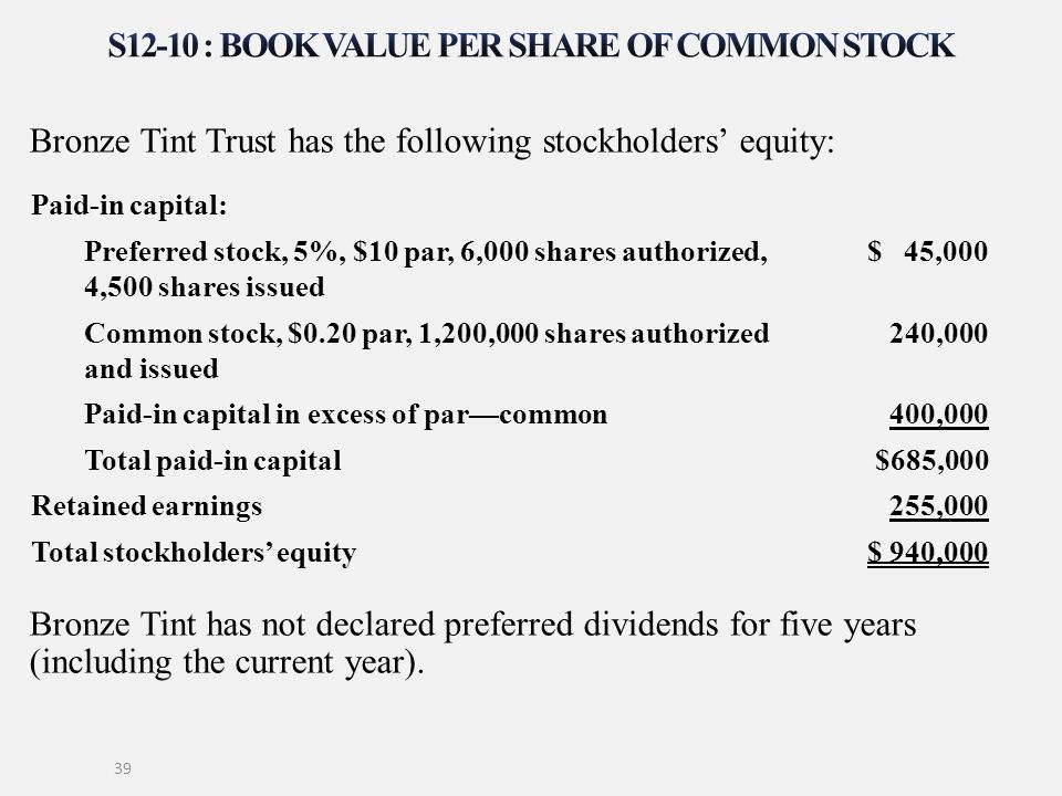 Bronze Tint Trust has the following stockholders' equity: Bronze Tint has not declared preferred dividends for five years (including the current year)