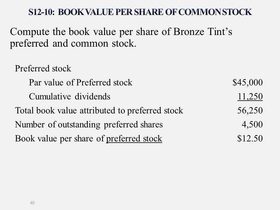 Compute the book value per share of Bronze Tint's preferred and common stock. 40 Preferred stock Par value of Preferred stock$45,000 Cumulative divide