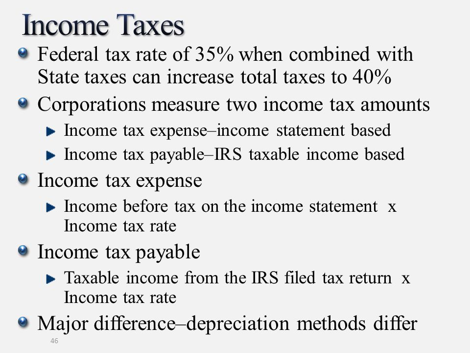 Federal tax rate of 35% when combined with State taxes can increase total taxes to 40% Corporations measure two income tax amounts Income tax expense–