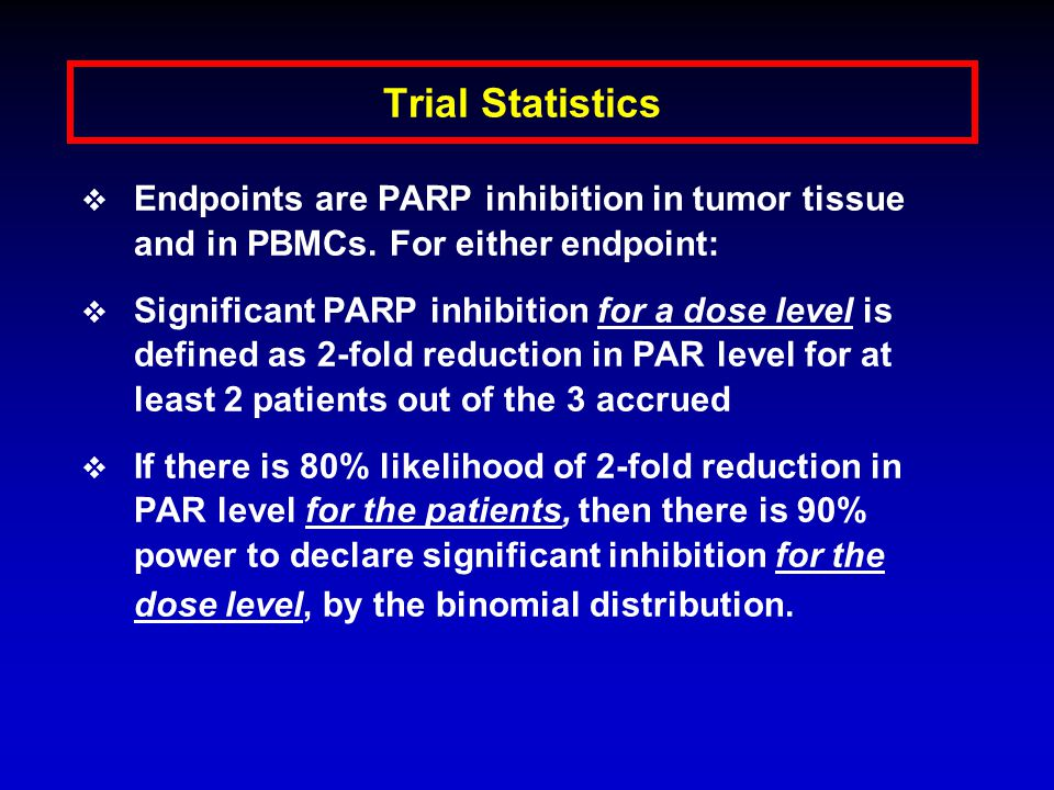 Trial Results (To Date)  14 patients enrolled on study, 11 are evaluable  3 patients (10 mg); 3 patients (25 mg); 8 patients (50 mg- 3 NE: tumor biopsy negative for PAR levels at baseline (1), 1 pt withdrew prior to receiving drug due to personal reasons, 1 pt currently being evaluated)  Age (range): 49-74 years  Diagnoses: carcinoid (1), colorectal cancer (3), small cell lung cancer (1), low grade lymphomas (3), CTCL (3), adenocarcinoma of the external auditory canal (1), SCC head and neck (1), melanoma (1)  Patients monitored by serial bloodwork, EKGs, physical exams