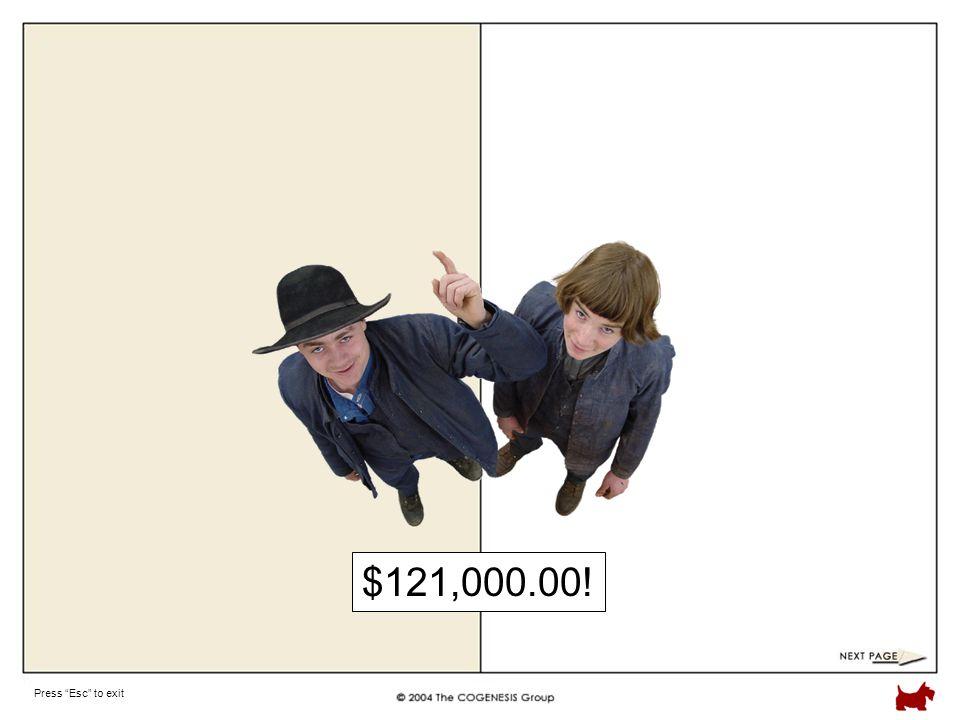 Press Esc to exit $121,000.00!