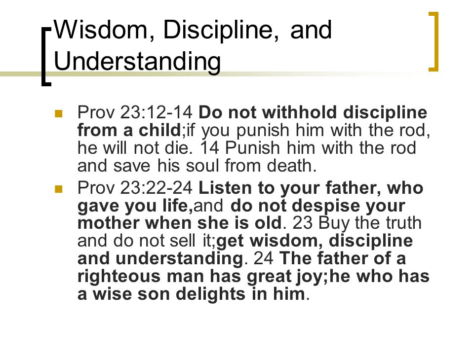 Wisdom, Discipline, and Understanding Prov 23:12-14 Do not withhold discipline from a child;if you punish him with the rod, he will not die. 14 Punish