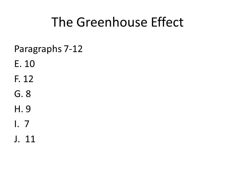 The Greenhouse Effect Paragraphs 7-12 E. 10 F. 12 G. 8 H. 9 I. 7 J. 11
