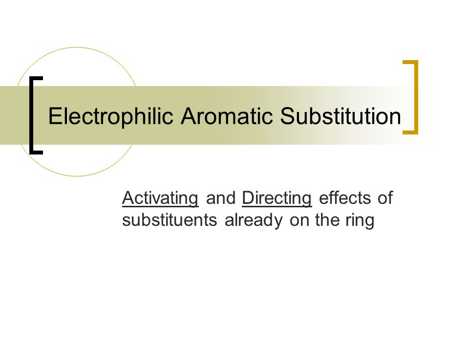 Electrophilic Aromatic Substitution Activating and Directing effects of substituents already on the ring
