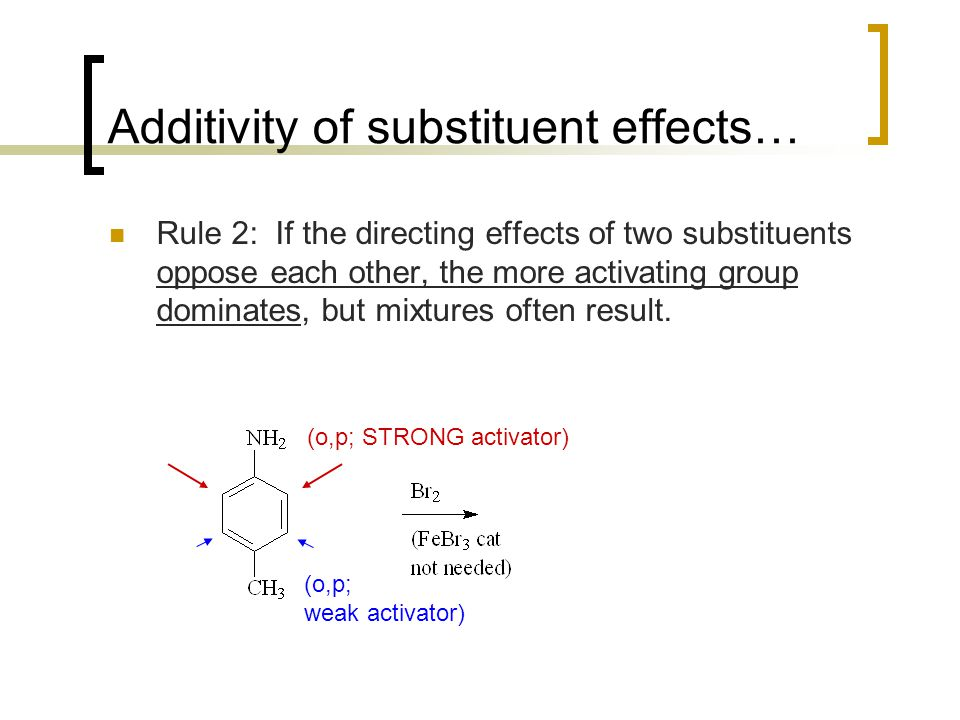 Additivity of substituent effects… Rule 2: If the directing effects of two substituents oppose each other, the more activating group dominates, but mi