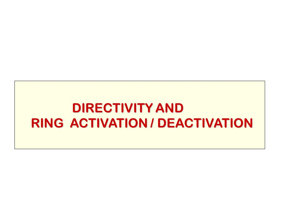 DIRECTIVITY AND DIRECTIVITY AND RING ACTIVATION / DEACTIVATION