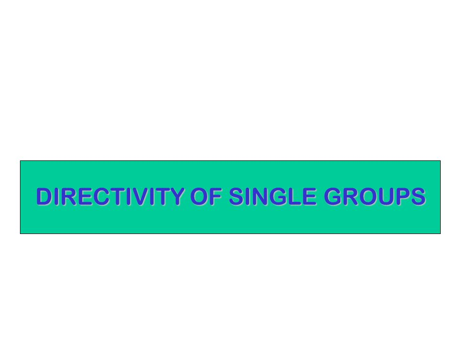 DIRECTIVITY OF SINGLE GROUPS