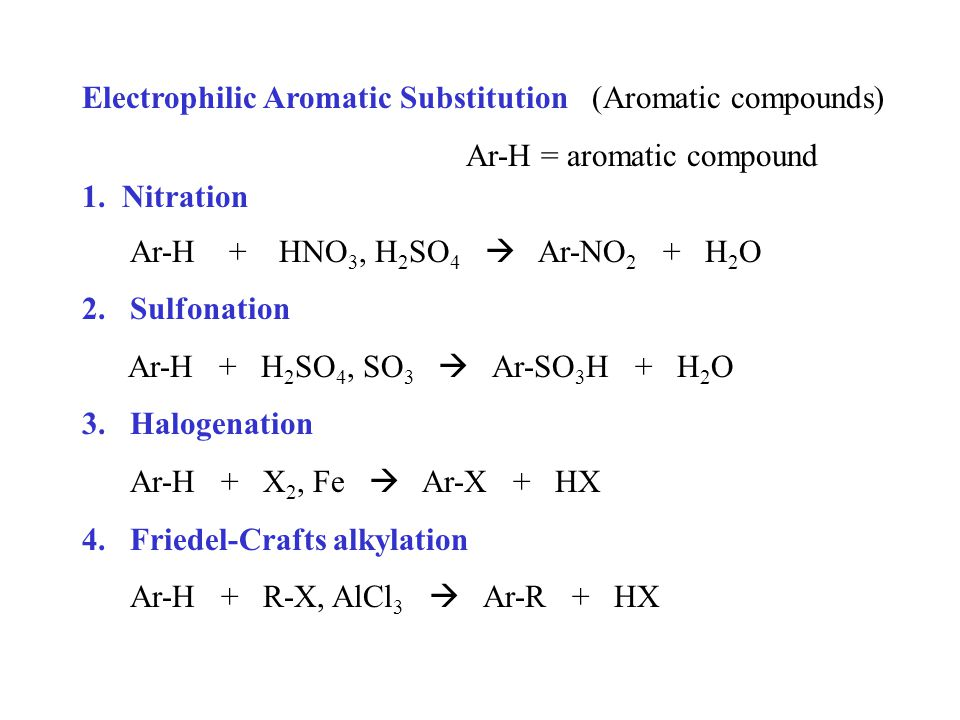 Electrophilic Aromatic Substitution (Aromatic compounds) Ar-H = aromatic compound 1.