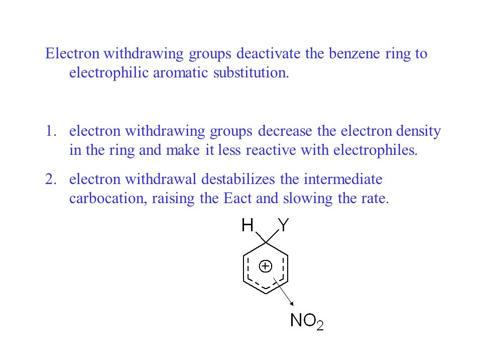 Electron donating groups activate the benzene ring to electrophilic aromatic substitution.