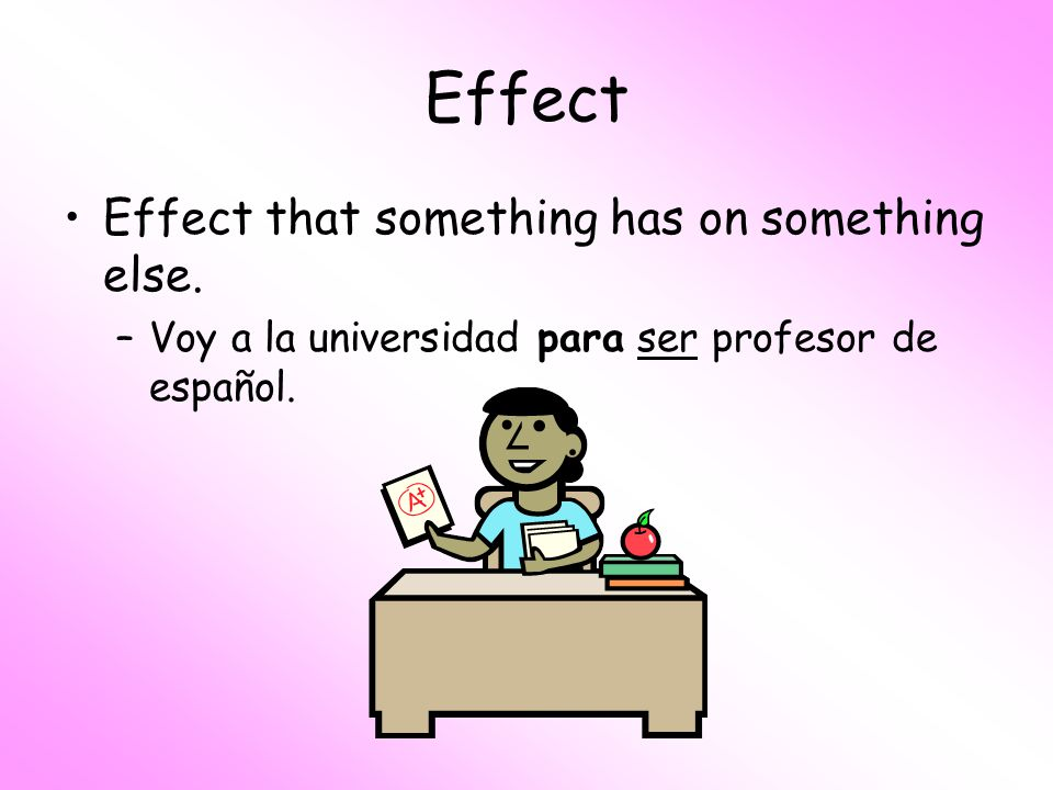 Effect Effect that something has on something else.