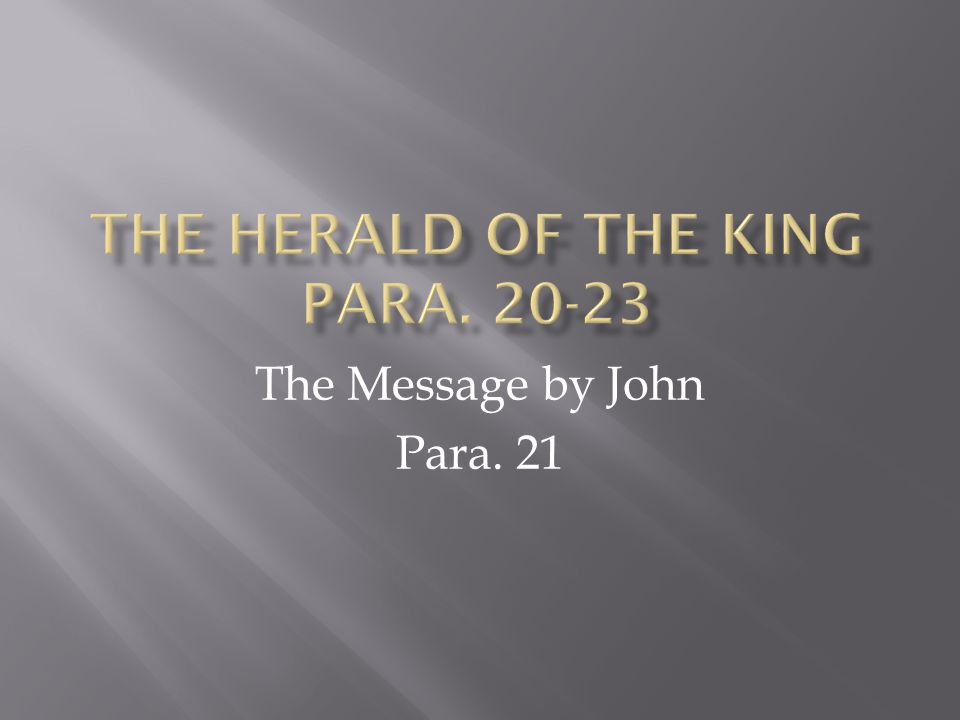 With para.21 we have three columns Mark: Servant of the Lord – quotes Mal.